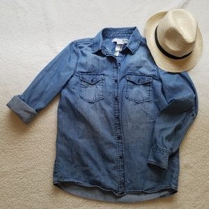 Joe Fresh Denim Button Up Long Sleeve Size Medium